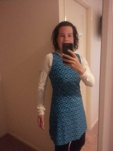 Here we go - me in the dress. Very comfy and I wore tights and a top underneath as it was so cold outside!
